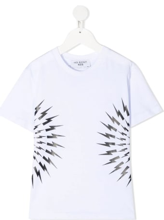 Neil Barrett Kid White And Black Fair-isle Thunderbolt T-shirt