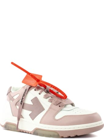 """Off-White White And Pink Leather """"ooo"""" Sneakers"""