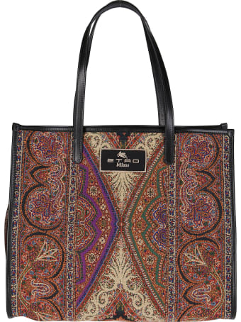 Etro Multicolor Wool Blend Tote Bag