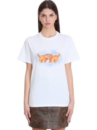 Ganni T-shirt In White Cotton