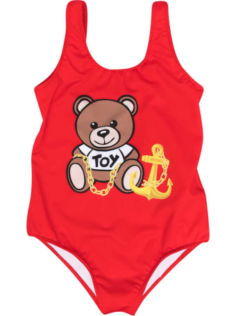Moschino Red Swimsuit With Toy Print