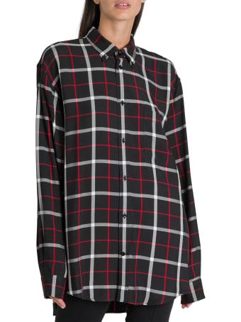 Balenciaga Camicia A Scacchi Con Logo Rosso Sul Retro