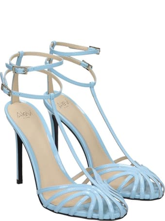 Alevi Stella 110 Sandals In Cyan Patent Leather