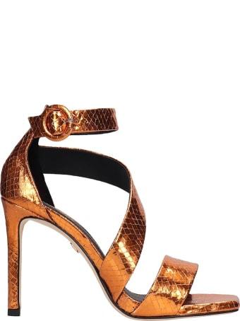 Lola Cruz Sandals In Orange Leather