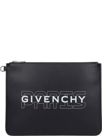 Givenchy Large Zipped Clutch In Black Leather