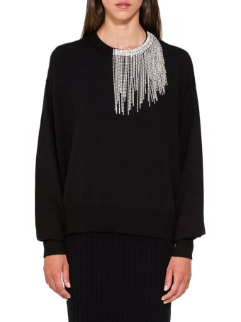 Circus Hotel Crystal Embellished Neck Sweater