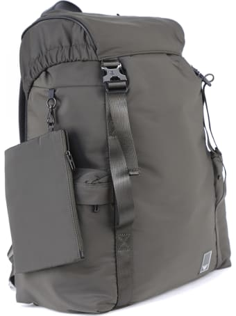 Emporio Armani Grey Drawstring Backpack