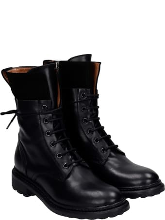 Julie Dee Combat Boots In Black Suede And Leather
