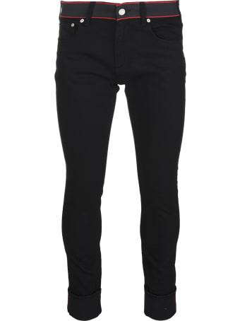 Alexander McQueen Man Black Jeans With Logo Band