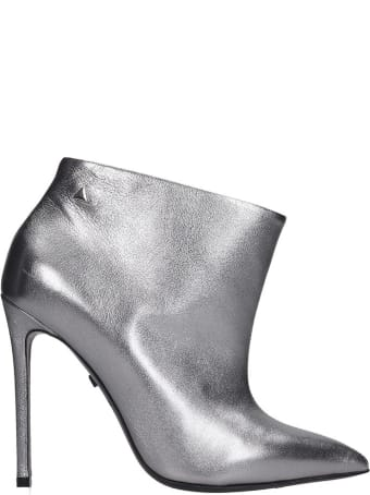 Grey Mer High Heels Ankle Boots In Silver Leather