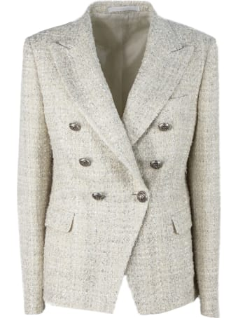 Tagliatore Beige Cotton Blend Jalicya Tweed Blazer