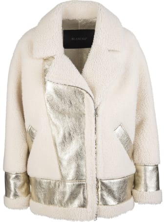 Blancha Ivory Wool And Laminated Leather Woman Jacket