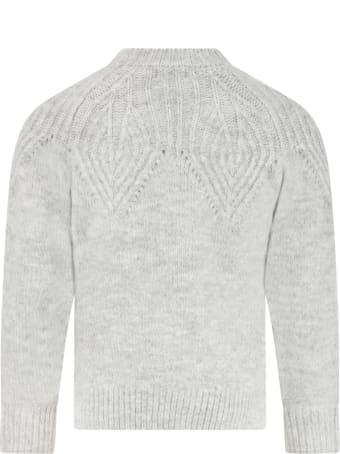 Billieblush Grey Sweater For Girl With Logo