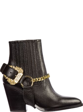 Versace Jeans Couture  Leather Heel Ankle Boots Booties