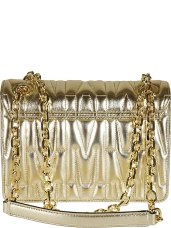 Moschino Quilted Logo Plaque Chain Shoulder Bag