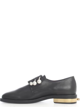 Coliac Fernanda Shoes W/gold Heel And 3 Jewels