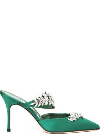 Manolo Blahnik Lurum Green Satin Mules With Swarovski