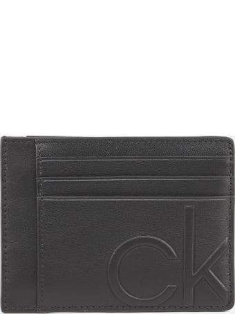 Calvin Klein Leather Card Holder With Inlaid Logo