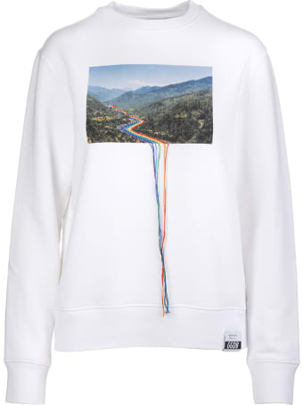 Golden Goose White Woman Sweatshirt With Print And Embroidery
