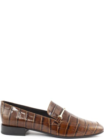 Fabio Rusconi Crocodile Print Brown Leather Loafer