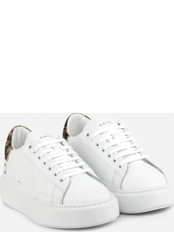 D.A.T.E. Sfera Sneakers In Leather With Contrasting Heel Tab