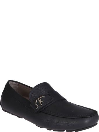 Salvatore Ferragamo Black Leather Rasca Loafers