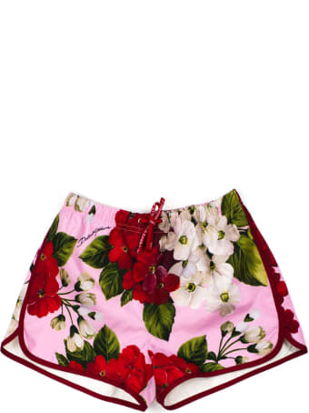 Dolce & Gabbana Pink And Red Floral Shorts
