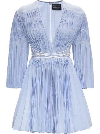 Giovanni Bedin Origami Cotton And Silk Dress With Belt