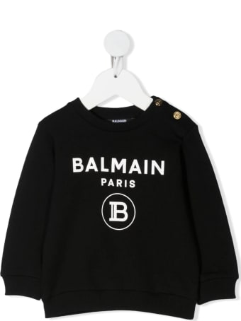 Balmain Newborn Black Sweatshirt With Golden Buttons