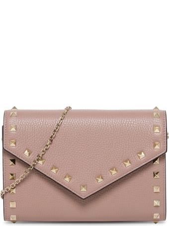 Valentino Garavani Rockstud Crossbody Bag In Powder Leather