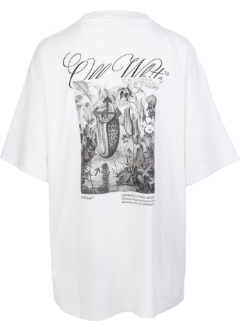 Off-White Woman White Oversize T-shirt With Graphic Print