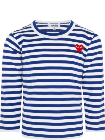 Comme des Garçons Play White And Electric Blue Striped T-shirt With Heart