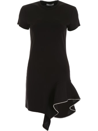 AREA Ruffled Dress With Crystals