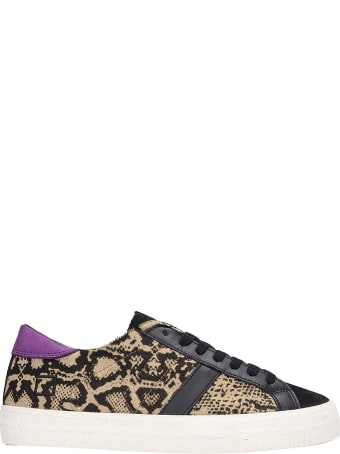 D.A.T.E. Hill Low Sneakers In Animalier Pony Skin