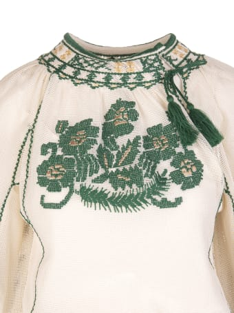 RED Valentino Ivory/green/beige Tassel-trim Embroidered Dress