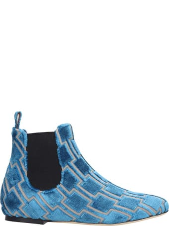 Bams Low Heels Ankle Boots In Cyan Fabric