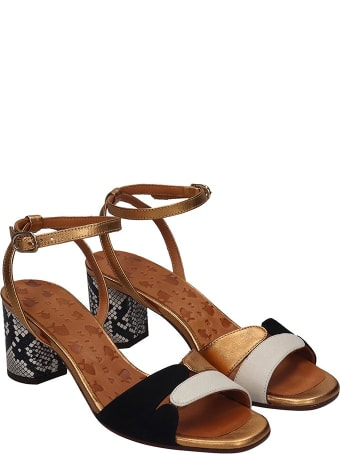Chie Mihara Lucano Sandals In Black Suede And Leather
