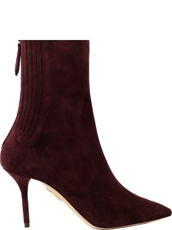 Aquazzura Dark Plum Suede Saint Honore Bootie 85