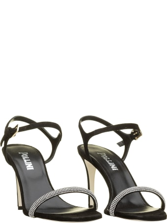 Pollini Pollini Leather And Crystals Sandals