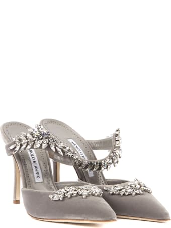 Manolo Blahnik Lurum Grey Velvet Mules With Swarovski