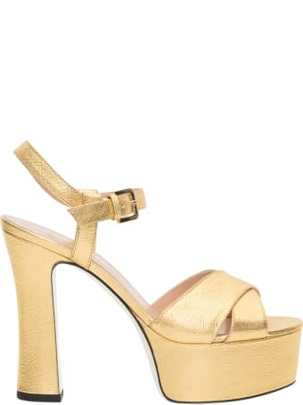 Pollini Golden Platform Sandals