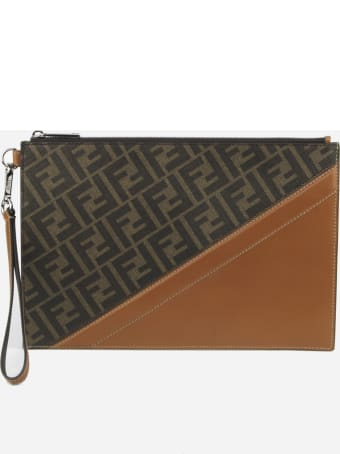 Fendi Flat Pouch In Fabric With Leather Inserts