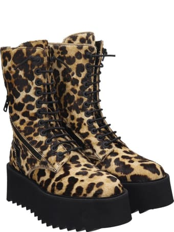 Bruno Bordese Ripple Boot Combat Boots In Animalier Pony Skin