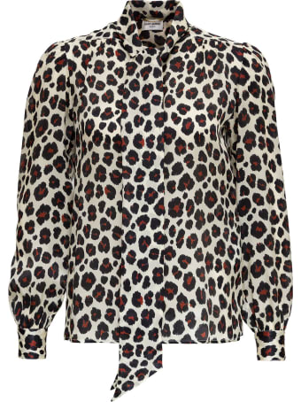 Saint Laurent Leopard Blouse In Mousseline With Pussy Bow Collar