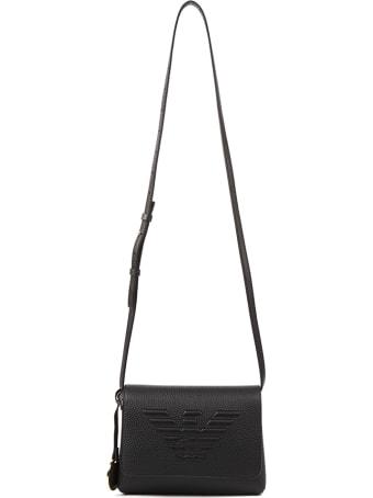 Emporio Armani Embossed Logo Black Eco-leather Shoulder Bag