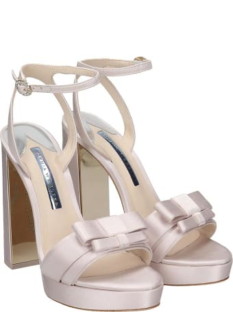 Sophia Webster Andie Bow  Sandals In White Satin
