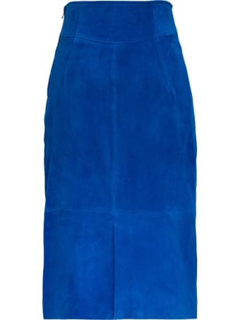 Alberta Ferretti Long Blue Suede Skirt