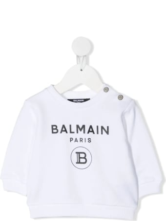 Balmain Newborn White Sweatshirt With Golden Buttons