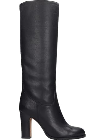 Julie Dee High Heels Boots In Black Leather