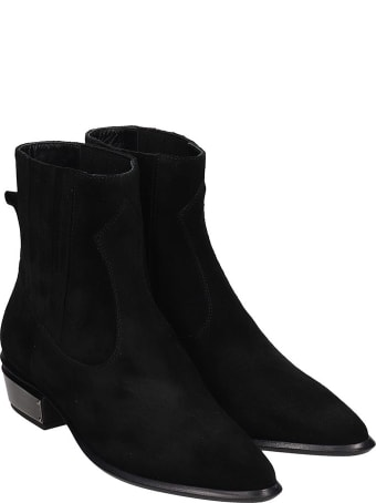 Kate Cate Cowboy Kate Low Heels Ankle Boots In Black Suede